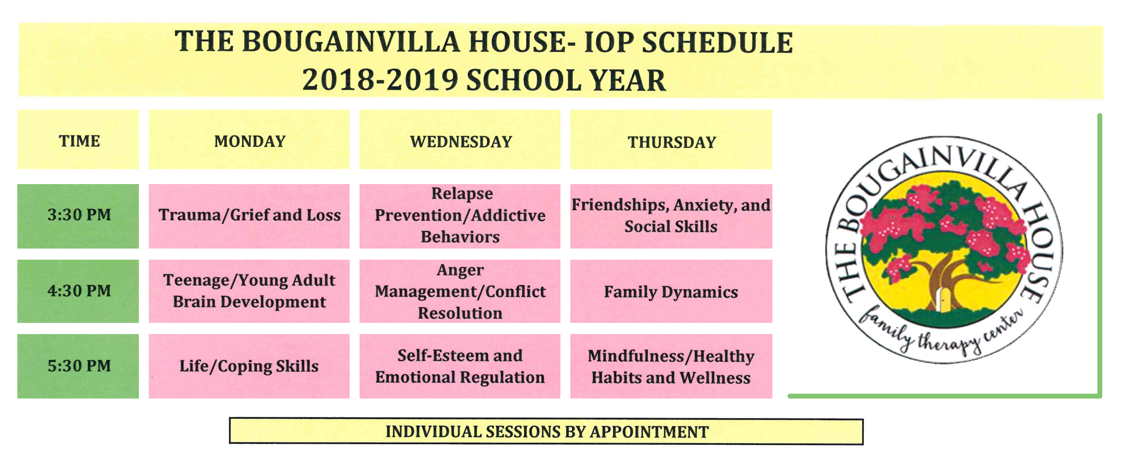 The Bougainvilla House Group Therapy Schedule 2018-2019