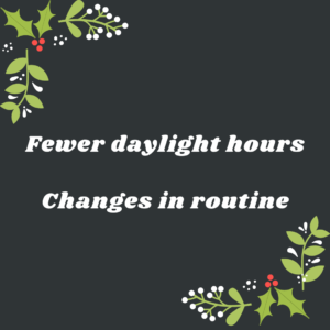 fewer daylight hours and changes in routine