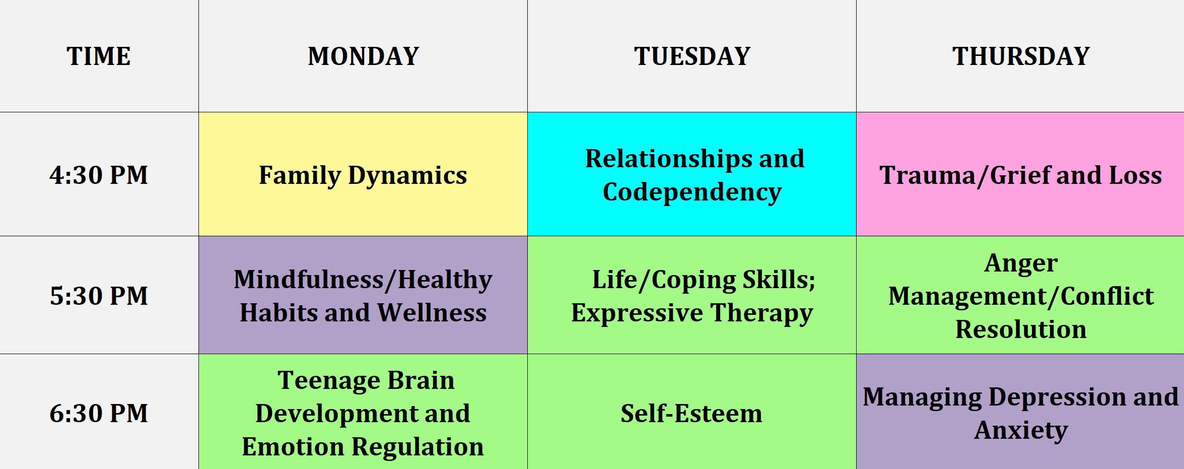 mental health iop schedule